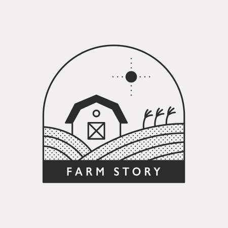 Farm story. A landscape with a house in a rice field where wheat grows. Illustration. Black color hipster design.