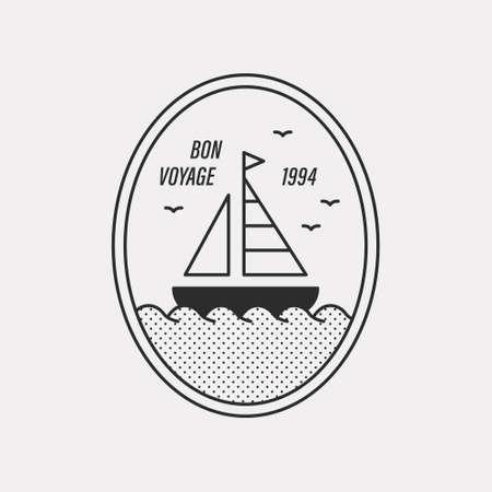 Illustration of a ship sailing the sea. Black color hipster design.
