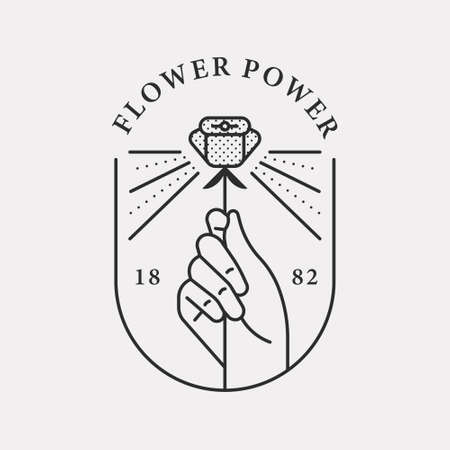 Illustration of a hand holding a beautiful rose. Black color hipster design. 일러스트