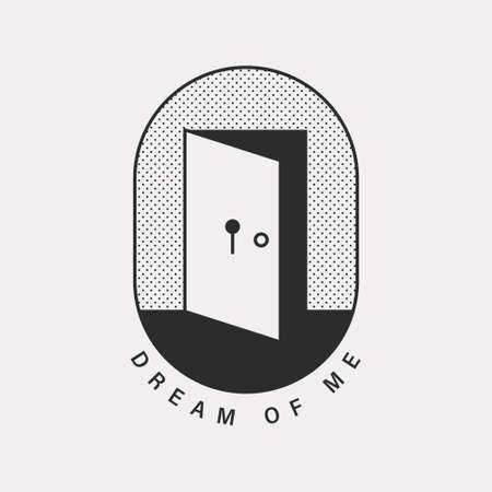A mysterious illustration of an open door with a keyhole. Black color hipster design.