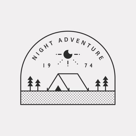 Outdoor illustration camping in nature. Black color hipster design.