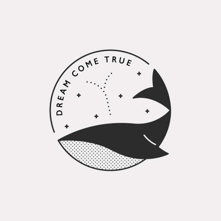 Whale icon. Black color hipster design.