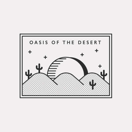 Oasis in the desert. Moon landscape illustration icon floating in the desert with cactus. Black color hipster design.