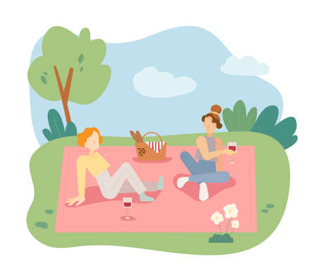 Two girls are having a picnic in the park. flat design style minimal vector illustration.
