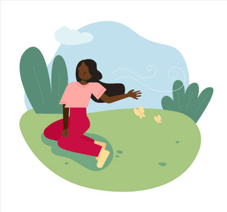 A woman is sitting on the grass in the park and feeling the wind. flat design style minimal vector illustration. 일러스트
