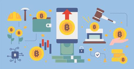 Bitcoin system concept layout. flat design style minimal vector illustration. 일러스트