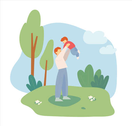 Dad and little son are having a good time in the park. flat design style minimal vector illustration.
