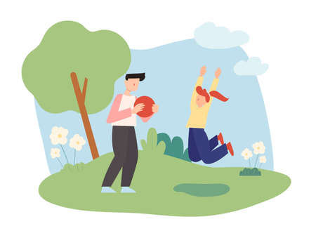 Dad and daughter are having fun playing ball in the park. flat design style minimal vector illustration. 일러스트