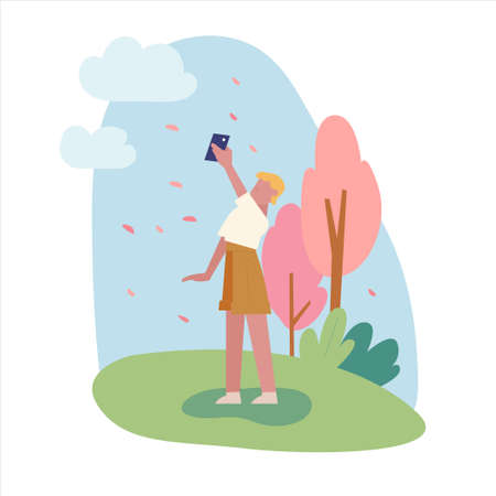 A person is taking pictures in front of the scattering cherry trees. flat design style minimal vector illustration. 일러스트