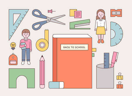 School supplies and student characters. flat design style minimal vector illustration. 일러스트