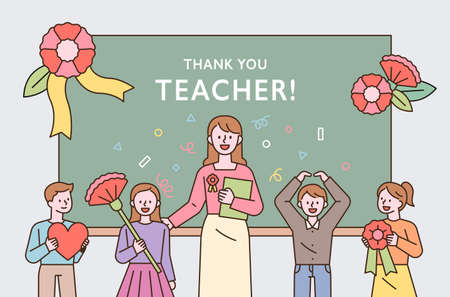 Teacher's Day commemorative thanks event. Young students and teachers are standing in front of the blackboard holding flowers. flat design style minimal vector illustration. 스톡 콘텐츠 - 168016307