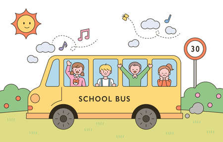 The children are having fun riding the yellow school bus. flat design style minimal vector illustration. 일러스트