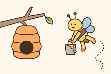 A cute bee is carrying honey in a bucket and bringing it home. flat design style minimal vector illustration.