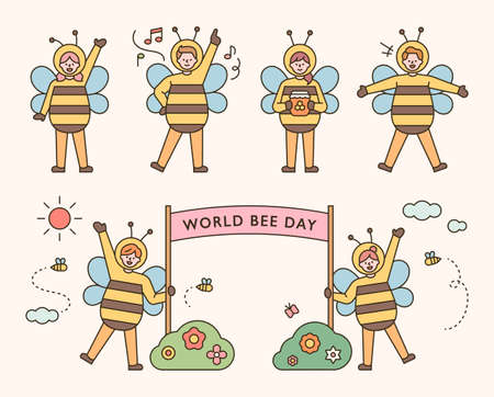 People in bee costumes for World Bee Day. flat design style minimal vector illustration.
