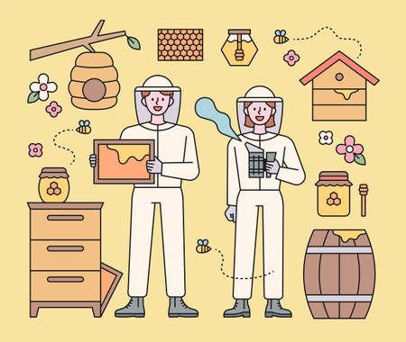 Beekeeper characters and beekeeping equipment. flat design style minimal vector illustration.