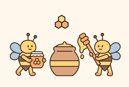 Cute bees are collecting honey in a large pot. flat design style minimal vector illustration.