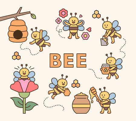 Cute bees collecting honey. flat design style minimal vector illustration.