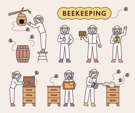 Beekeepers raise bees and collect honey. flat design style minimal vector illustration.