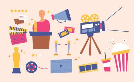 Movie equipment and film festival. flat design style minimal vector illustration.