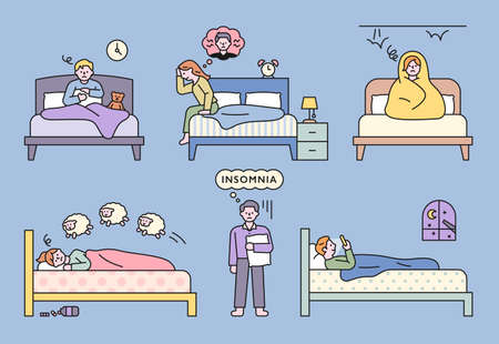 People suffering from insomnia due to various problems. flat design style minimal vector illustration.