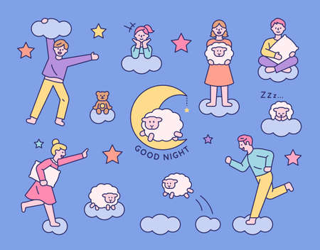 People running above the clouds in their dreams. flat design style minimal vector illustration. 일러스트