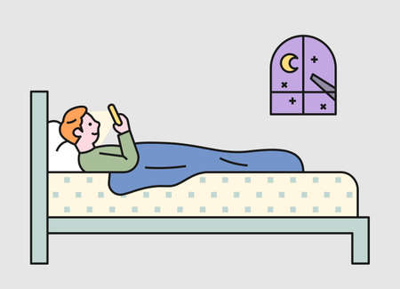 A man is falling asleep while lying in bed and looking at his smartphone. flat design style minimal vector illustration. 일러스트