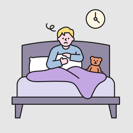 A man is sitting in bed and is falling asleep because of insomnia. flat design style minimal vector illustration.