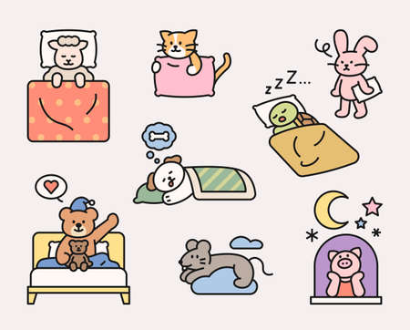 Cute animal characters are sleeping in various poses. flat design style minimal vector illustration.