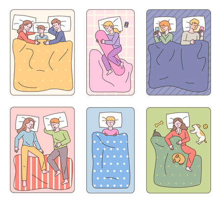 Diverse people lying in bed and sleeping. People sleeping with cats and kids or watching smartphones. flat design style minimal vector illustration. 일러스트