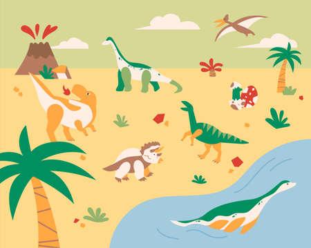 Giant dinosaurs from the era of dinosaurs. flat design style minimal vector illustration. 일러스트