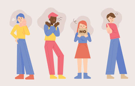 People are standing and making a gesture of rejection. flat design style minimal vector illustration.
