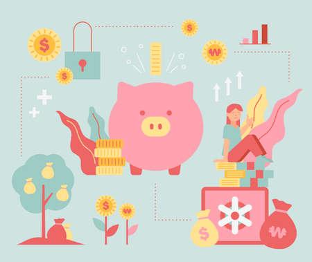 Piggy bank and wealth management. flat design style minimal vector illustration. 스톡 콘텐츠 - 168299158