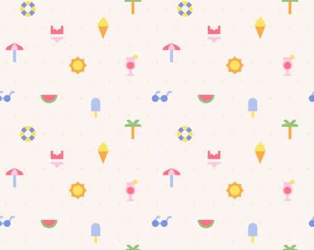 A beach background pattern made up of small and simple summer icons. Simple pattern design template.
