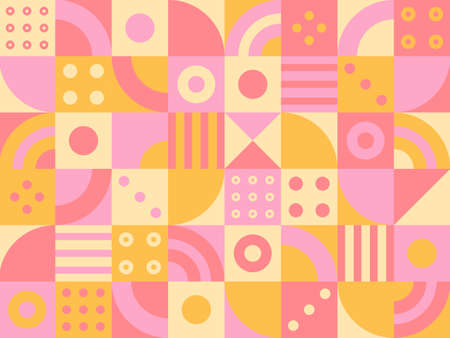 Circular pieces are creating patterns in a square mosaic grid. Simple pattern design template.