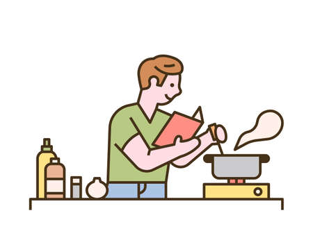 A man is cooking while looking at a recipe book. flat design style minimal vector illustration.