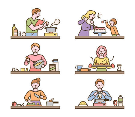 People are cooking different dishes at each table. flat design style minimal vector illustration. 일러스트