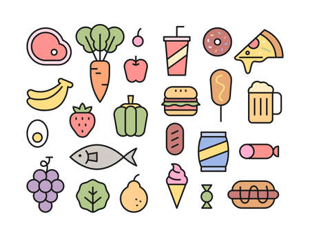 Fresh ingredients and high calorie foods icon collection. flat design style minimal vector illustration. 일러스트