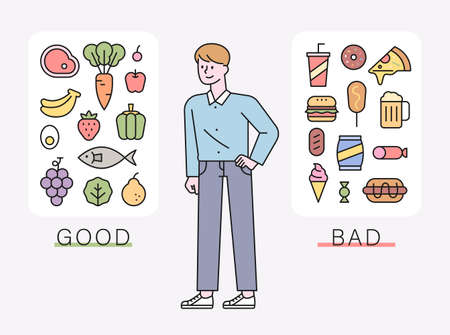 A man sorts diet-friendly foods and high-calorie foods. flat design style minimal vector illustration. 스톡 콘텐츠 - 168299175