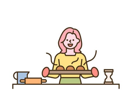 A woman is holding a bread fresh from the oven. flat design style minimal vector illustration.
