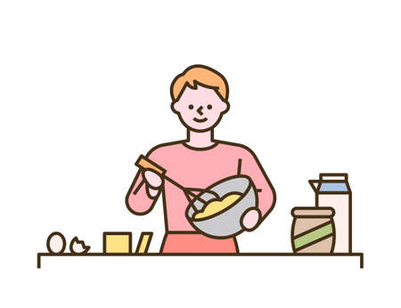 A man is making bread while whipping with a bowl. flat design style minimal vector illustration. 일러스트