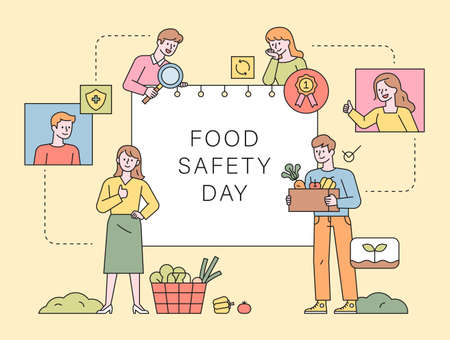 Food Safety Day. Customers looking for healthy and safe food. flat design style minimal vector illustration.