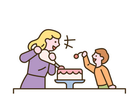 The mother and child are making a cake together. flat design style minimal vector illustration.