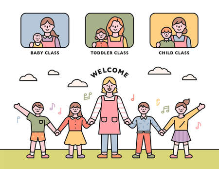 Daycare class. Teacher and children join hands and greet each other. flat design style minimal vector illustration.