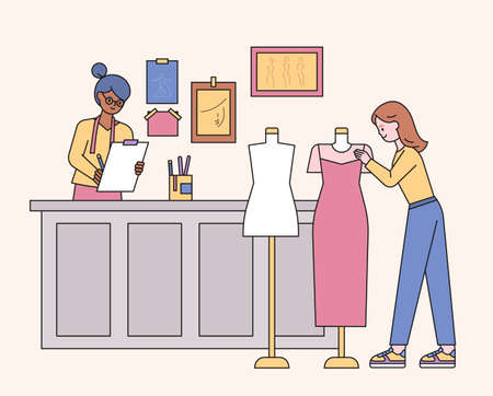 Boutique shop designers and customers looking at clothes. flat design style minimal vector illustration. Vetores