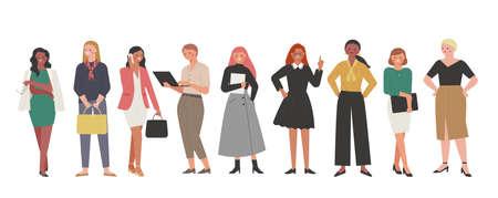 Business woman in various fashion styles. flat design style minimal vector illustration. 일러스트