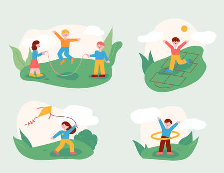 The children are playing with their friends in the park. A play of childhood memories. flat design style minimal vector illustration. 일러스트
