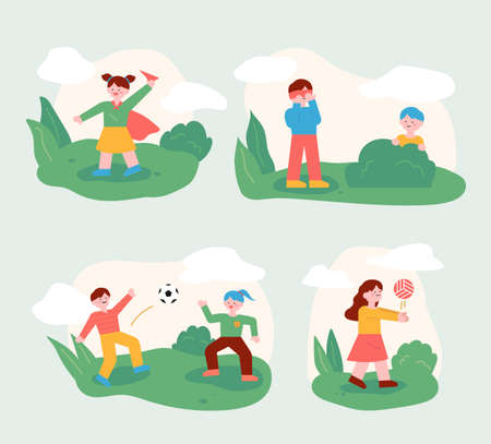 The children are playing with their friends in the park. Children playing ball or playing hide-and-seek. flat design style minimal vector illustration. 일러스트