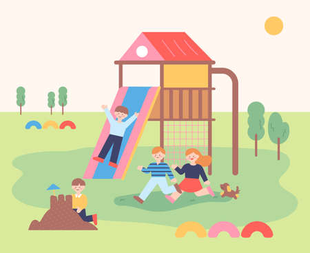 The children are playing with their friends on the playground. flat design style minimal vector illustration.