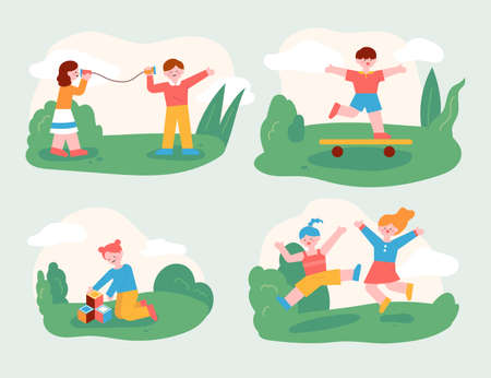 The children are playing with their friends in the park. Children who play with friends and children who play well alone. flat design style minimal vector illustration. 일러스트