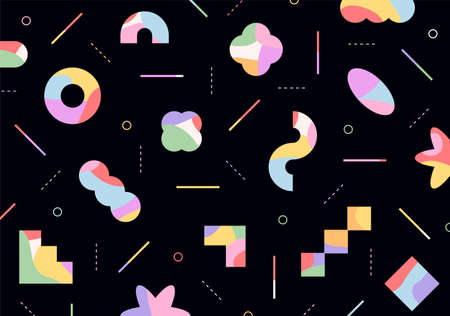 Figures with colorful patterns are freely arranged on a black background.